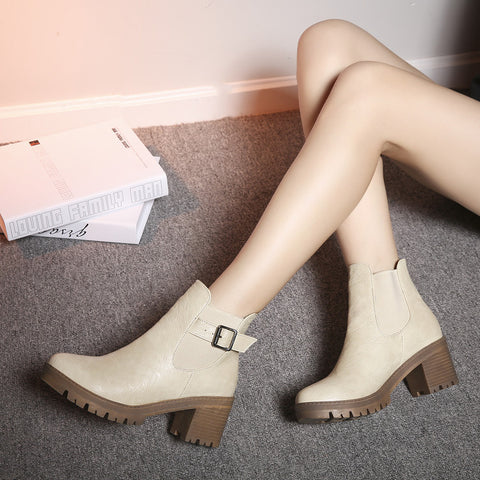 PU Pure Color Round Toe Metal Buckle Middle Block Heel Short Boots 37 Beige