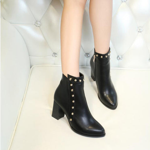 PU Pure Color Pointed Toe High Block Heel Rivet Ankle Boots With Side Zipper 38 Black