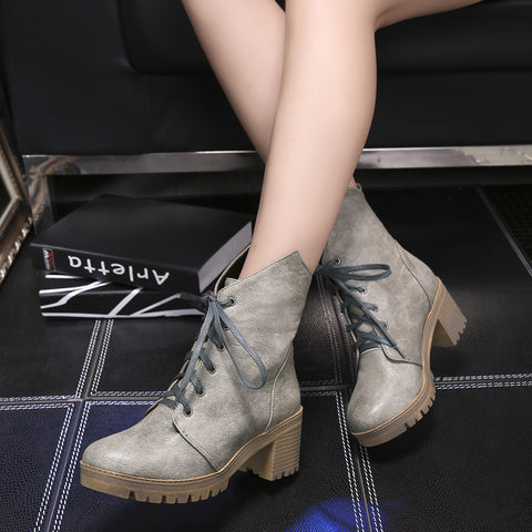 PU Pure Color Round Toe Middle Block Heel Lace Up Short Boots 7 Dark gray