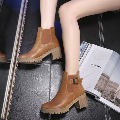 PU Pure Color Round Toe Metal Buckle Middle Block Heel Short Boots 37 Brown