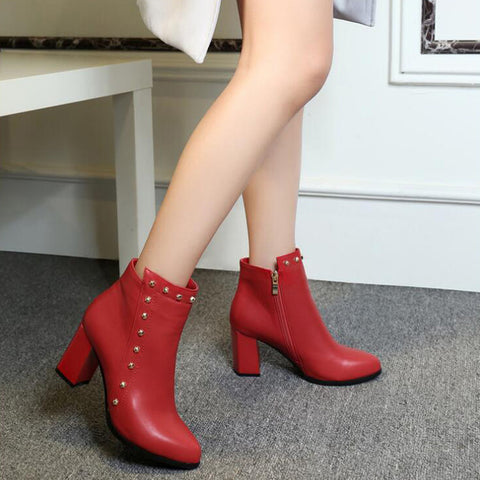 PU Pure Color Pointed Toe High Block Heel Rivet Ankle Boots With Side Zipper 39 Red