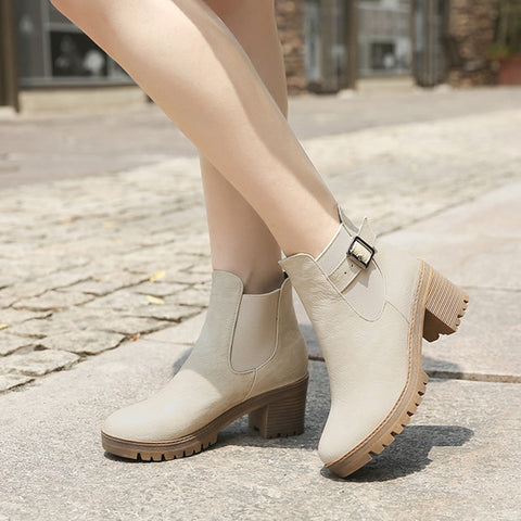 PU Pure Color Round Toe Metal Buckle Middle Block Heel Short Boots 38 Beige
