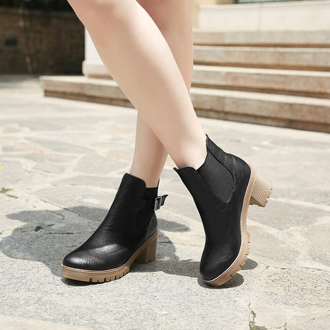 PU Pure Color Round Toe Metal Buckle Middle Block Heel Short Boots 37 Black