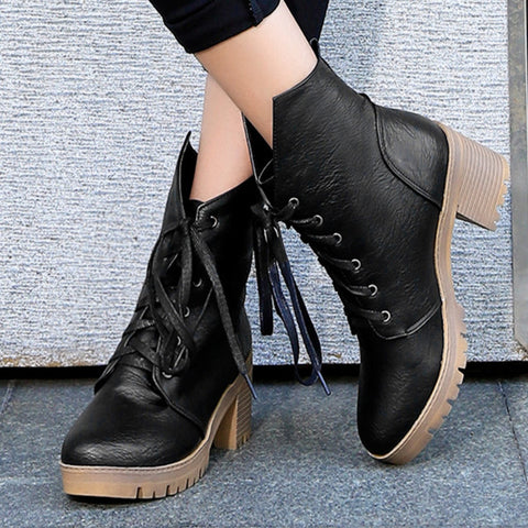 PU Pure Color Round Toe Middle Block Heel Lace Up Short Boots 7.5 Black