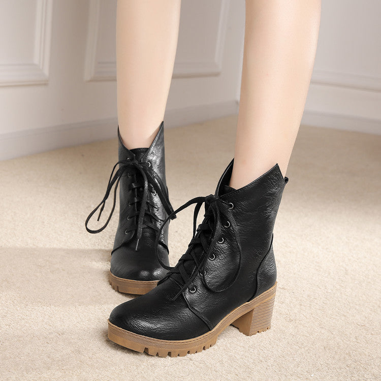 PU Pure Color Round Toe Middle Block Heel Lace Up Short Boots 7 Black