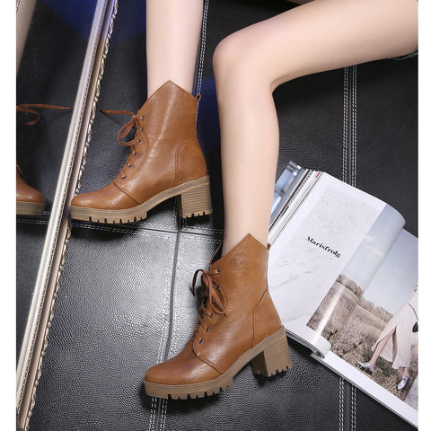 PU Pure Color Round Toe Middle Block Heel Lace Up Short Boots 6.5 Brown