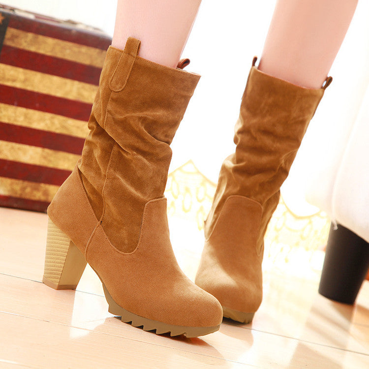 PU Pure Color Round Toe Middle Block Heel Slouch boots 9.5 Light brown