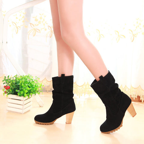 PU Pure Color Round Toe Middle Block Heel Slouch boots 9.5 Black