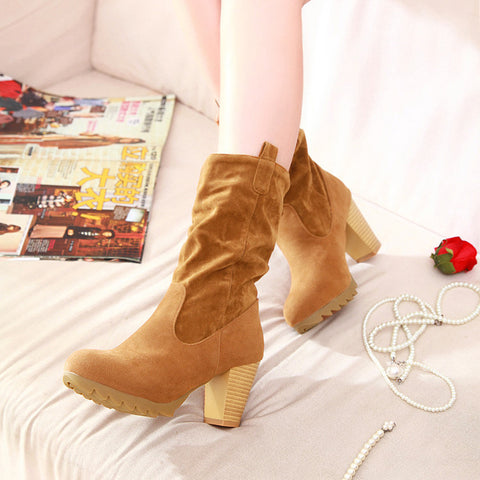 PU Pure Color Round Toe Middle Block Heel Slouch boots 9 Light brown