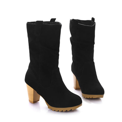 PU Pure Color Round Toe Middle Block Heel Slouch boots 9 Black