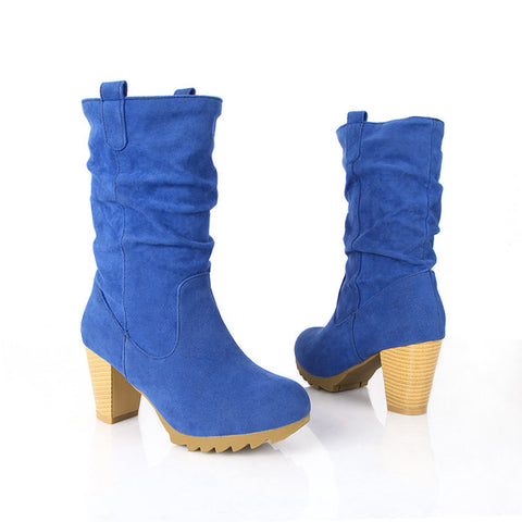 PU Pure Color Round Toe Middle Block Heel Slouch boots 9.5 Blue