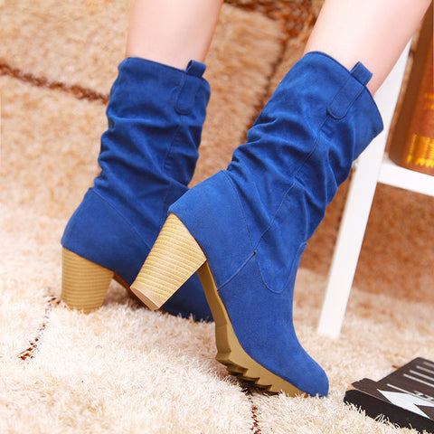 PU Pure Color Round Toe Middle Block Heel Slouch boots 9 Blue