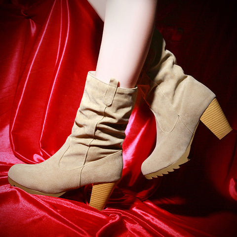PU Pure Color Round Toe Middle Block Heel Slouch boots 9.5 Beige