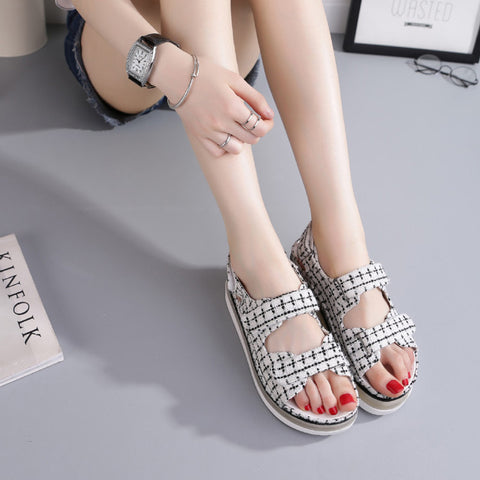 Canvas Mixed Color Open Toe Flat Heel Plaid Velcro 7 Colors Led Light Sandals 6.5 Black