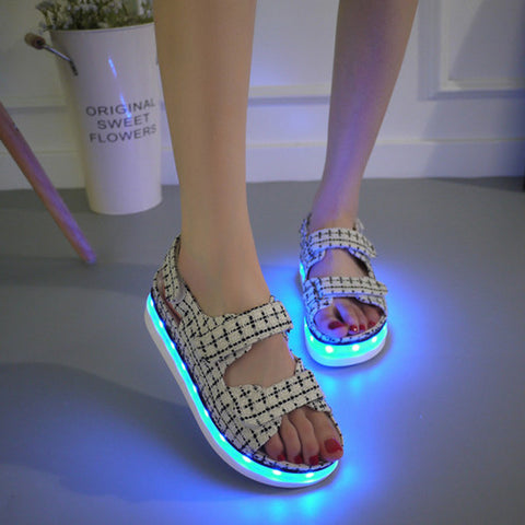 Canvas Mixed Color Open Toe Flat Heel Plaid Velcro 7 Colors Led Light Sandals 7 Black