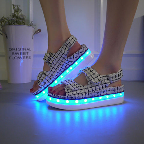 Canvas Mixed Color Open Toe Flat Heel Plaid Velcro 7 Colors Led Light Sandals 7.5 Black