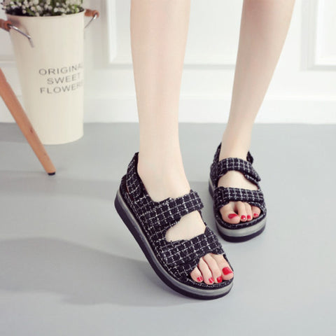Canvas Mixed Color Open Toe Flat Heel Plaid Velcro 7 Colors Led Light Sandals 6.5 White