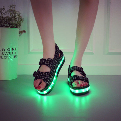Canvas Mixed Color Open Toe Flat Heel Plaid Velcro 7 Colors Led Light Sandals 7.5 White