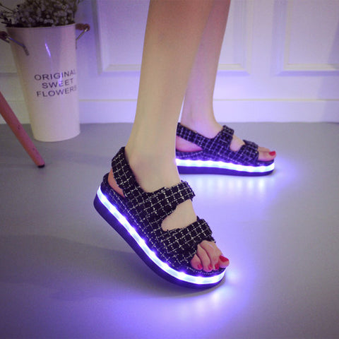Canvas Mixed Color Open Toe Flat Heel Plaid Velcro 7 Colors Led Light Sandals 7 White