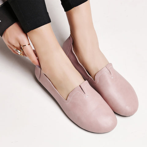 Casual Round Toe Flat Heel Loafers 7 Pink