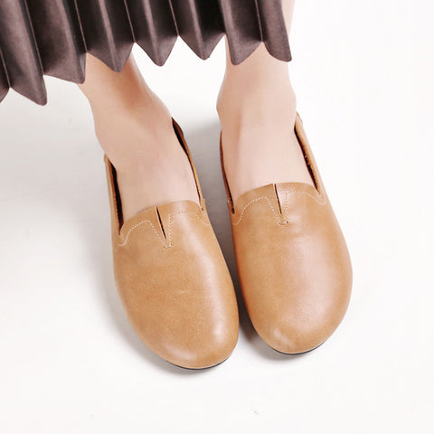 Casual Round Toe Flat Heel Loafers 7 Camel