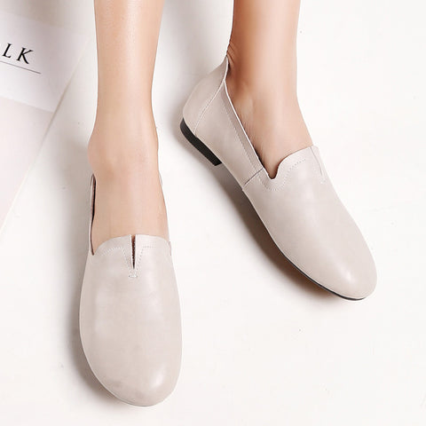 Casual Round Toe Flat Heel Loafers 7 Grey