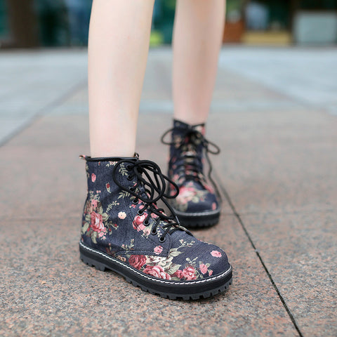 Denim Pure Color Round Toe Block Heel Lace Up Floral Martens 8.5 Dark blue