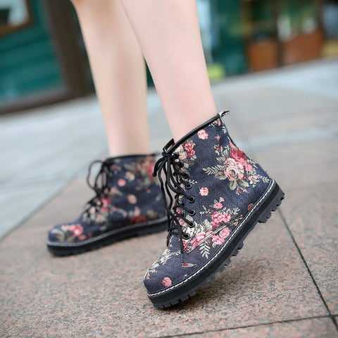 Denim Pure Color Round Toe Block Heel Lace Up Floral Martens 9 Dark blue