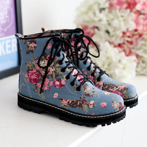 Denim Pure Color Round Toe Block Heel Lace Up Floral Martens 9.5 Dark blue
