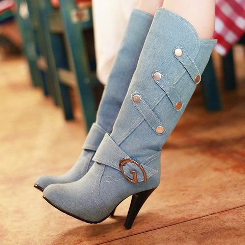 Denim Pure Color Round Toe Cone Heel Metal Embellished Mid-calf Boots 7.5 Light bule
