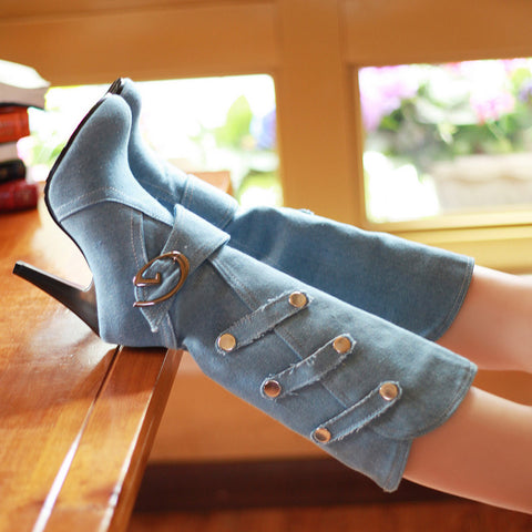 Denim Pure Color Round Toe Cone Heel Metal Embellished Mid-calf Boots 7 Light bule
