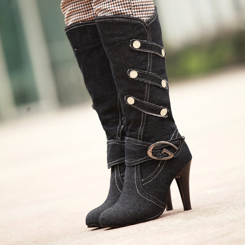 Denim Pure Color Round Toe Cone Heel Metal Embellished Mid-calf Boots 7 Black