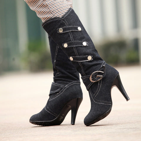 Denim Pure Color Round Toe Cone Heel Metal Embellished Mid-calf Boots 7.5 Black