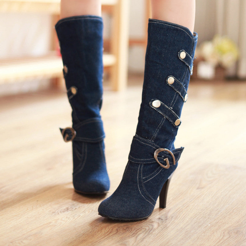 Denim Pure Color Round Toe Cone Heel Metal Embellished Mid-calf Boots 7.5 Dark bule