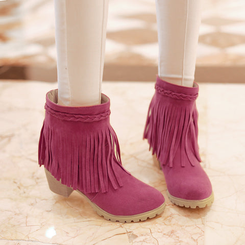 Dull Polish Pure Color Middle Heel Round Toe Tassel Ankle Boots 7.5 Crimson