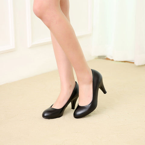 Head Layer Cowhide Pure Color Round Toe Kitten Heel Court Shoes 6.5 Black