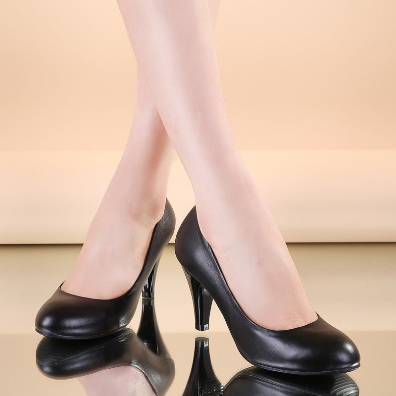 Head Layer Cowhide Pure Color Round Toe Kitten Heel Court Shoes 7.5 Black