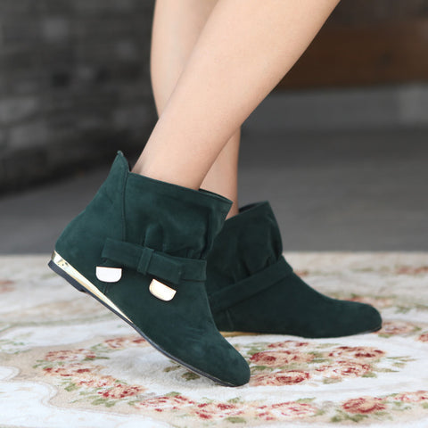 Suede Pure Color Round Toe Bowtie Flat Heel Ankle Boots 9 Dark green