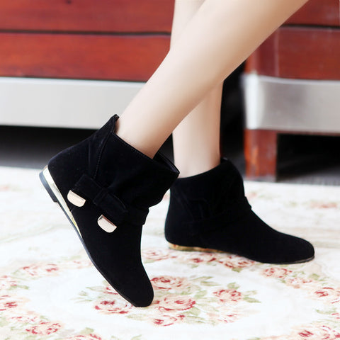 Suede Pure Color Round Toe Bowtie Flat Heel Ankle Boots 9 Black