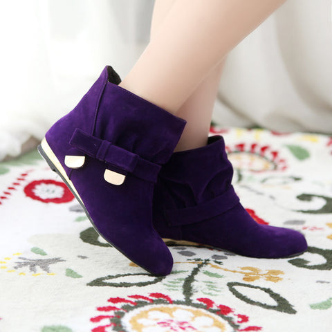 Suede Pure Color Round Toe Bowtie Flat Heel Ankle Boots 9 Grape