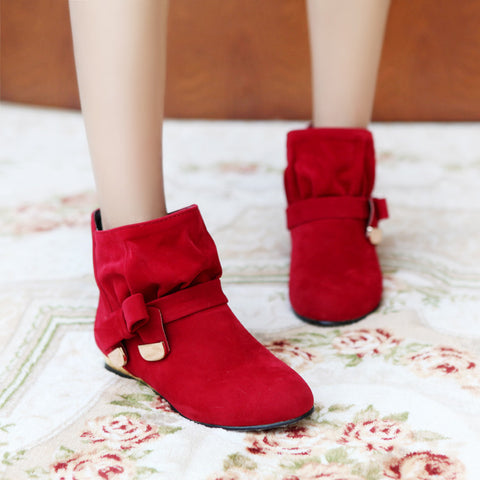 Suede Pure Color Round Toe Bowtie Flat Heel Ankle Boots 9.5 Red