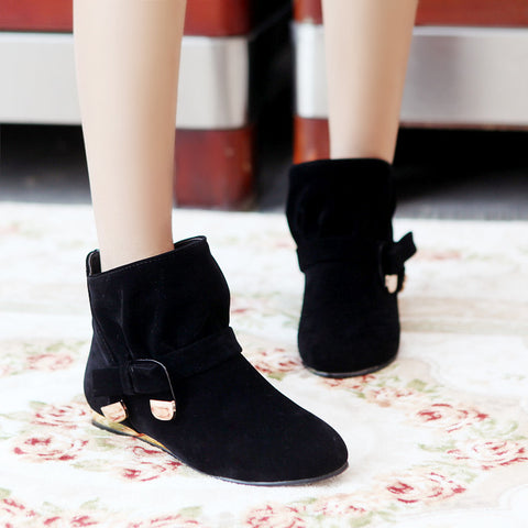 Suede Pure Color Round Toe Bowtie Flat Heel Ankle Boots 9.5 Black