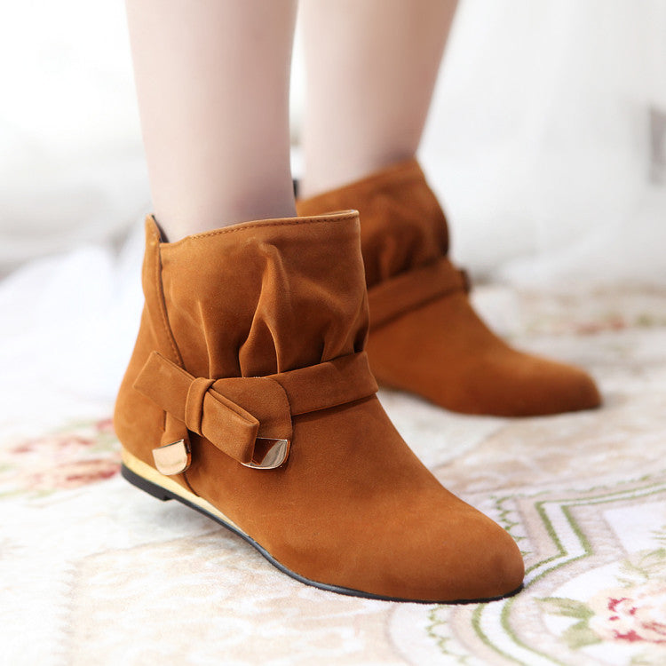 Suede Pure Color Round Toe Bowtie Flat Heel Ankle Boots 9.5 Brown