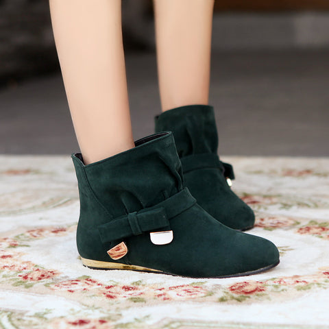 Suede Pure Color Round Toe Bowtie Flat Heel Ankle Boots 9.5 Dark green