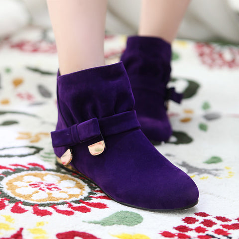 Suede Pure Color Round Toe Bowtie Flat Heel Ankle Boots 9.5 Grape