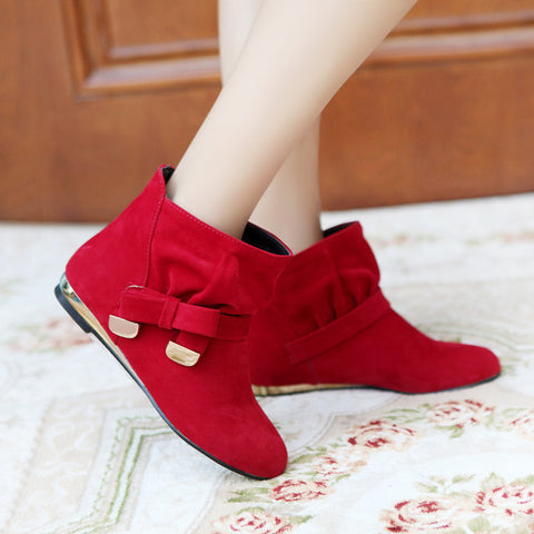 Suede Pure Color Round Toe Bowtie Flat Heel Ankle Boots 9 Red