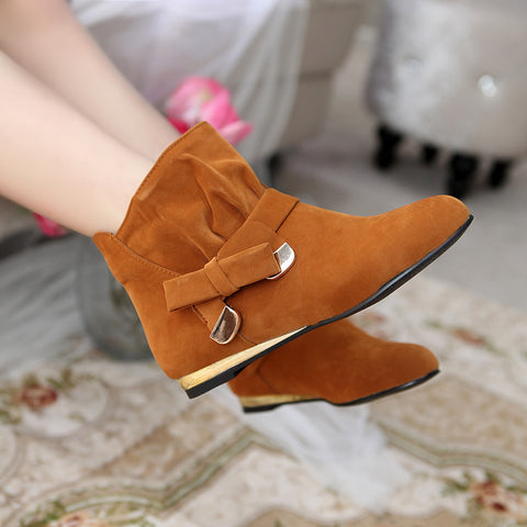 Suede Pure Color Round Toe Bowtie Flat Heel Ankle Boots 9 Brown