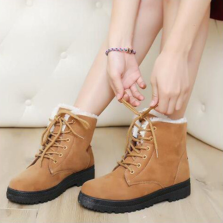 Suede Pure Color Round Toe Flat Heel Lace Up Snow Boots 8.5 Brown