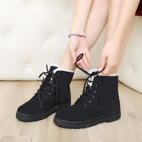 Suede Pure Color Round Toe Flat Heel Lace Up Snow Boots 8.5 Black