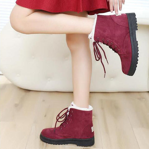 Suede Pure Color Round Toe Flat Heel Lace Up Snow Boots 9 Dark red